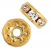 Rhinestone Rondelle (Flat Round) 8mm Gold